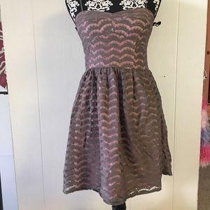 grey & pink strapless dress